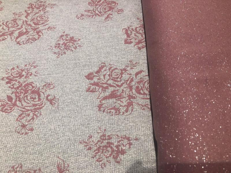 Boordstof oud roze glitter