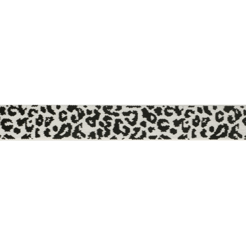 Elastiek panter wit  2.5 cm