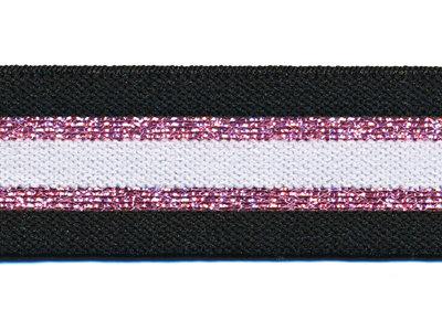 Elastiek gestreept zwart-wit met roze lurex 30 mm