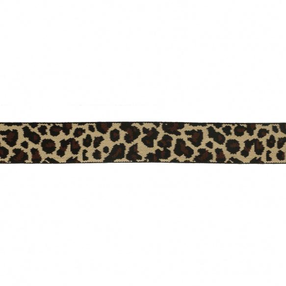 Elastiek panter beige 2.5 cm