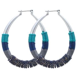 Statement Oorbellen Sparkling Beads Blauw
