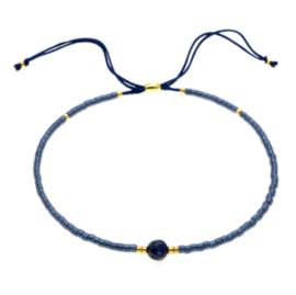 Verstelbaar armbandje summer beads blauw
