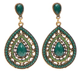 Statement Earrings Bohemian Stones Groen