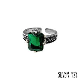 Ring Groene Steen Big Zilver 925