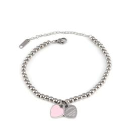 Zilveren Armband Roze Hart