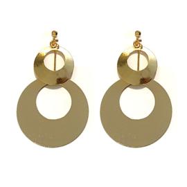 Gouden Clip Oorbellen Circle Drop