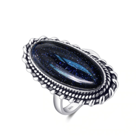 Ring Gemstone Donkerblauw Zilver 925