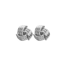 Zilveren Clip oorbellen Knot