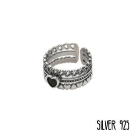 Zilveren Ring Trio Hartjes