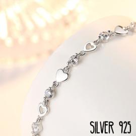 Zilveren Armband Steentjes & Hartjes