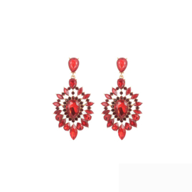 Statement Oorbellen Strass Rood