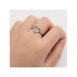 Zilveren Ring Open Hart