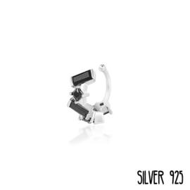 Ear Cuff Zilver Multi Zwarte Steentjes