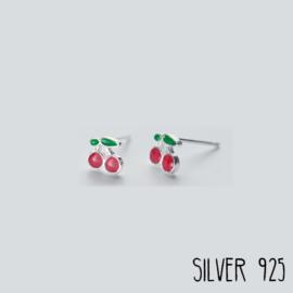 Zilveren Oorknopjes Kersjes