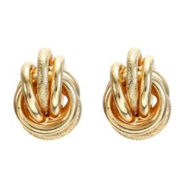 Gouden Clip Oorbellen Double Knot