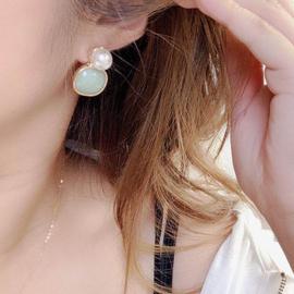 Clip oorbellen Parel en Steen