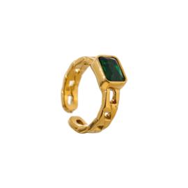 Gouden Ring Schakels met Groene Steen