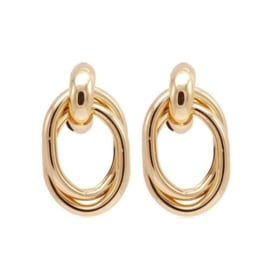 Gouden Clip oorbellen Oval Rounds