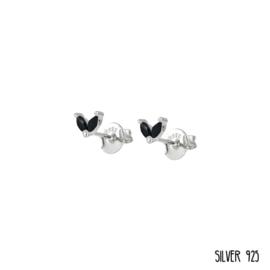 Zilveren Oorknopjes Steentjes Zwart