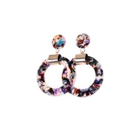 Oorbellen Multicolor Paars Round