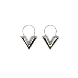 Earrings Dangle Triangle Silver & Gold