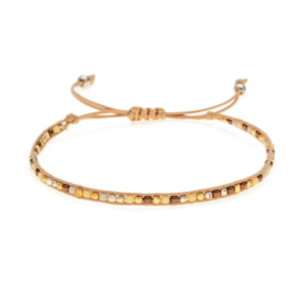 Verstelbaar armbandje mini beads beige