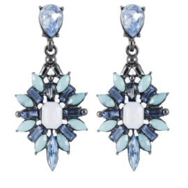 Statement Oorbellen Crystal Blue