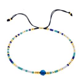 Verstelbaar armbandje summer beads multicolor blauw
