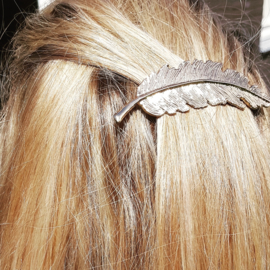 Hairclip Big Feather Gold/Silver