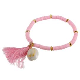 Armband Roze met Schelp