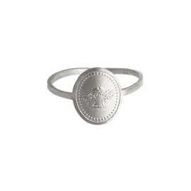 Verstelbare Zilveren Ring Engel