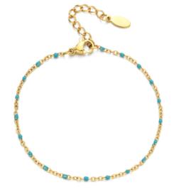 Gouden armbandje blauwe kraaltjes