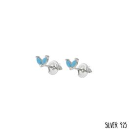 Zilveren Oorknopjes Steentjes Blauw