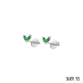 Zilveren Oorknopjes Steentjes Groen