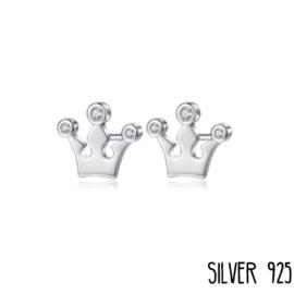 Zilveren Oorknopjes Kroontjes