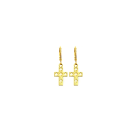 Earrings Double Cross  Goud