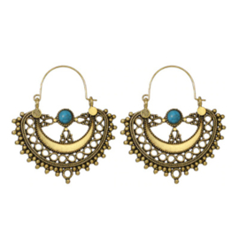 Gouden Oorbellen Bohemian Blue