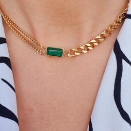 Gouden Schakel ketting met Groene Steen