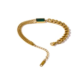 Gouden Schakel Small Armband Groene Steen