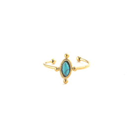 Gouden Ring Marble Oval Blauw