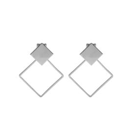 Zilveren Clipoorbellen Bloks