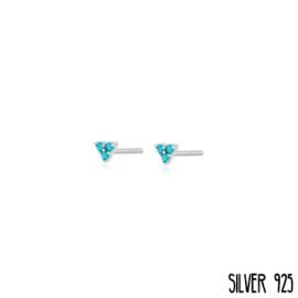 Zilveren Oorknopjes Driehoek Blauwe Steentjes