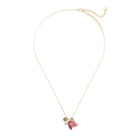 Gouden Ketting met hanger Roze Steen