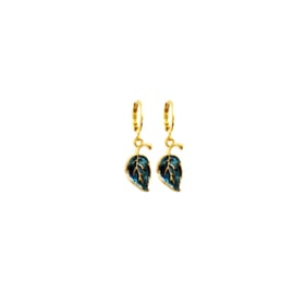 Earrings Blue Leaf Goud