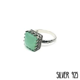 Ring Maansteen Groen Zilver 925