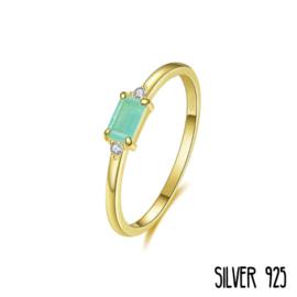 Gouden Ring Groen Steentje