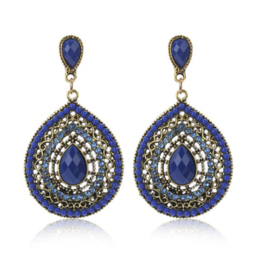 Statement Earrings Bohemian Stones Blauw