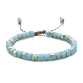 Verstelbaar armbandje square beads turquoise