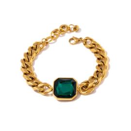 Gouden Schakel Armband Groene Steen