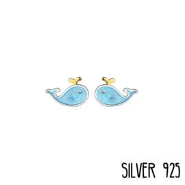 Zilveren Oorknopjes Walvis Blauw